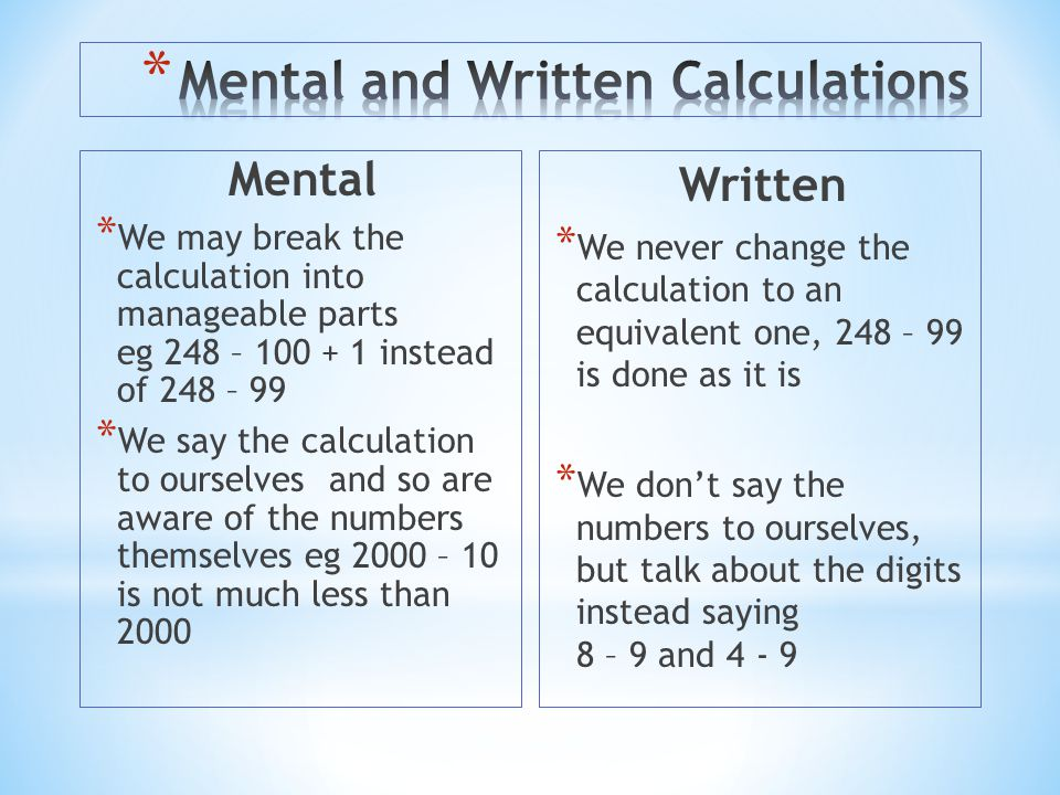 Mental and Written Calculations
