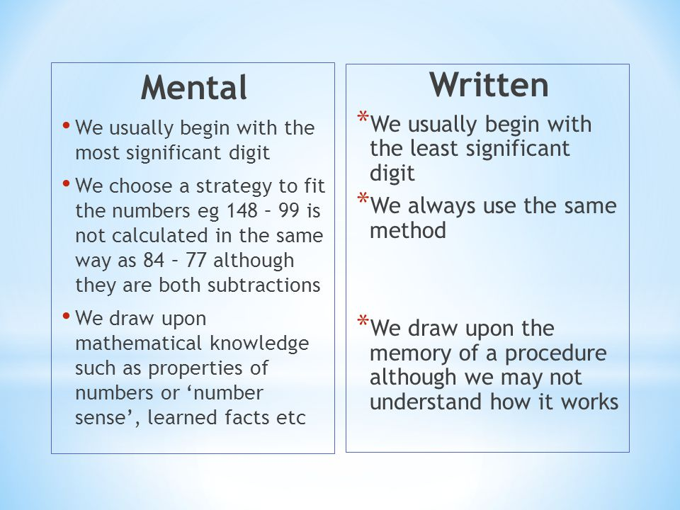Mental Written We usually begin with the least significant digit