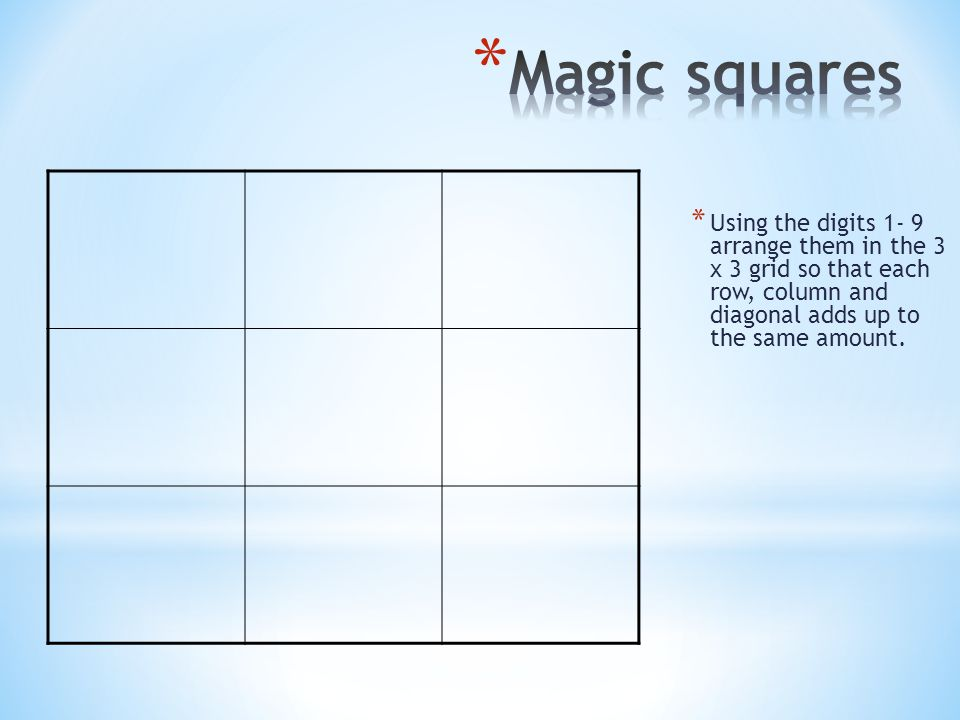 Magic squares Using the digits 1- 9 arrange them in the 3 x 3 grid so that each row, column and diagonal adds up to the same amount.