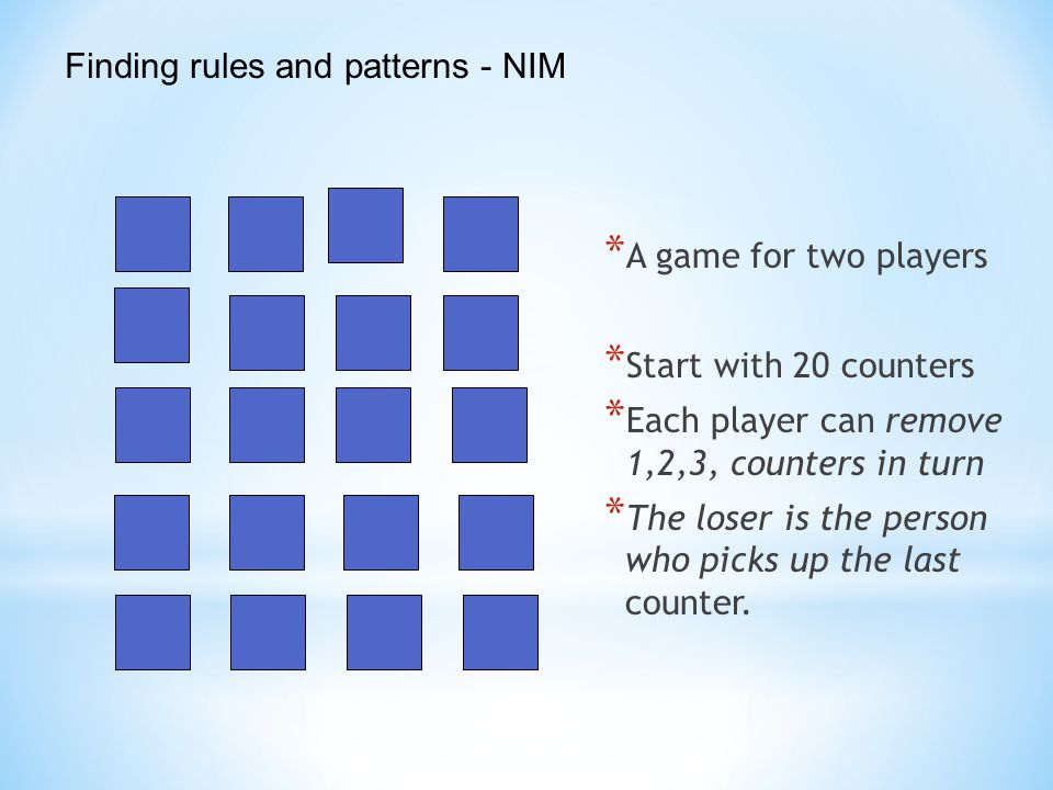 Finding rules and patterns - NIM