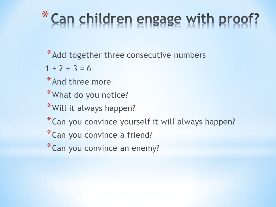 Can children engage with proof