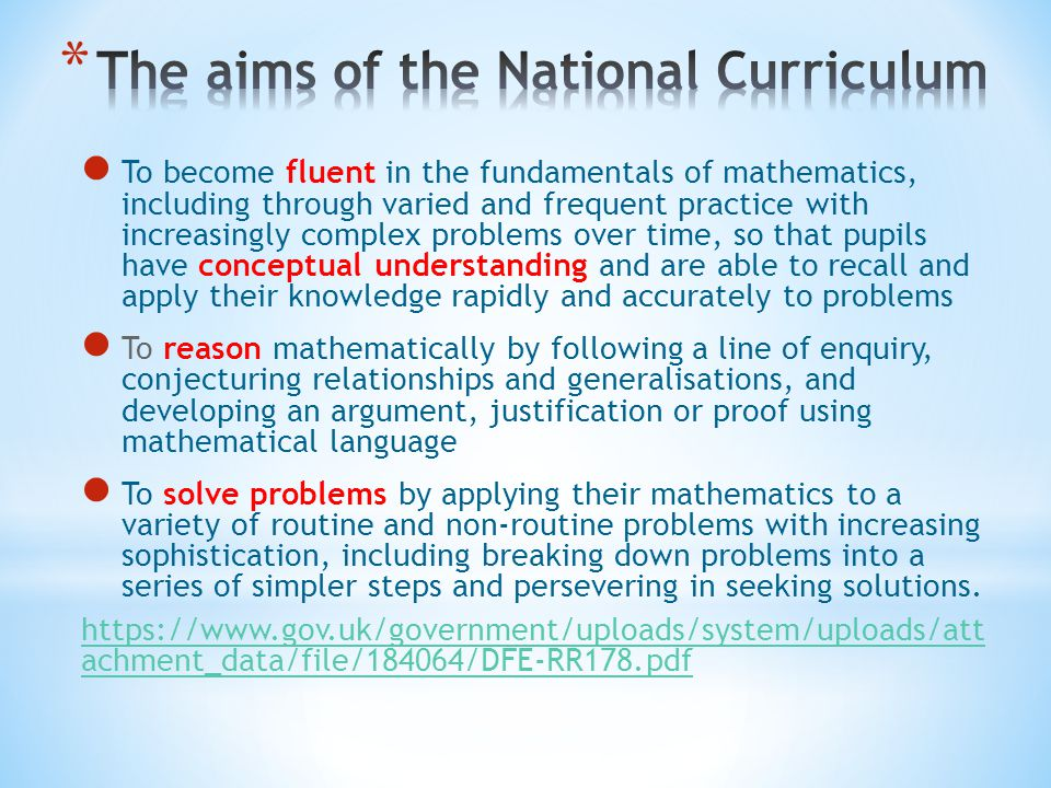 The aims of the National Curriculum