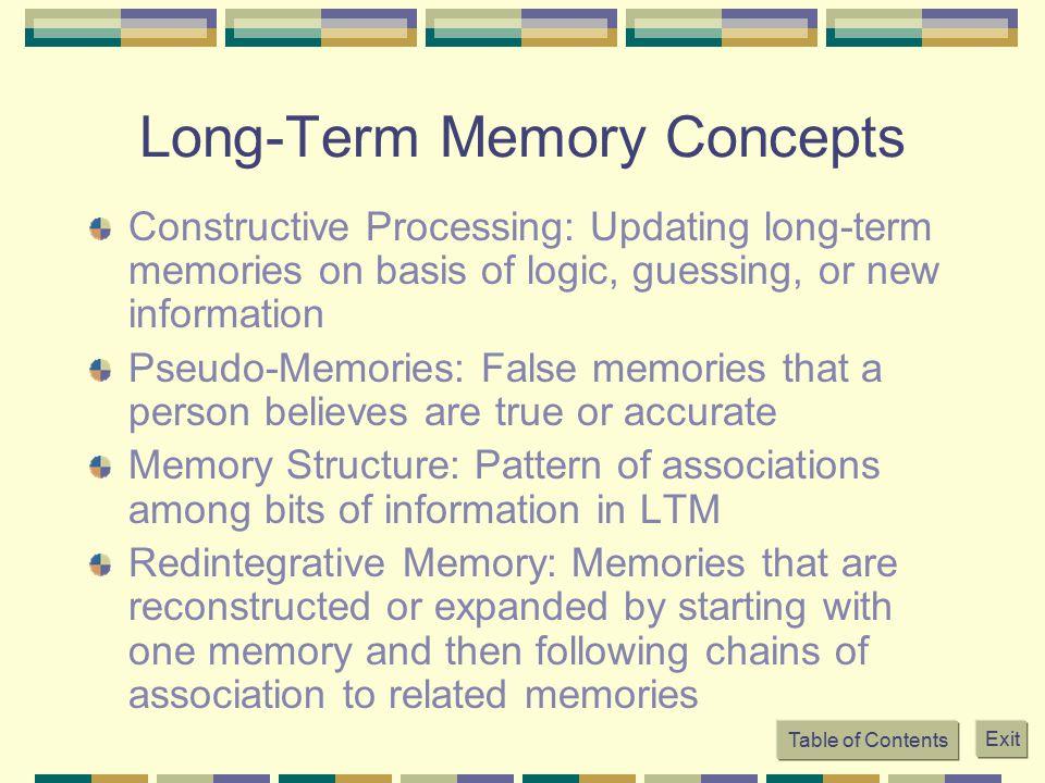 Long-Term Memory Concepts