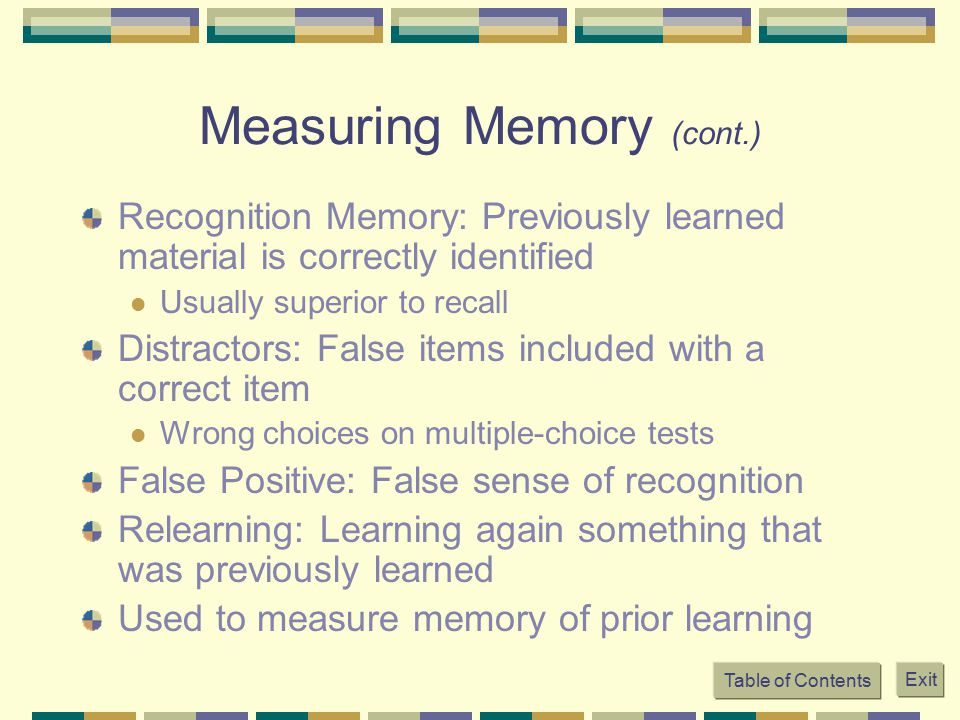 Measuring Memory (cont.)