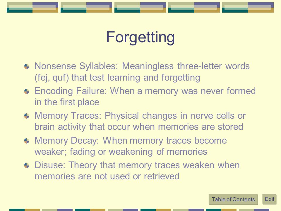 Forgetting Nonsense Syllables: Meaningless three-letter words (fej, quf) that test learning and forgetting.