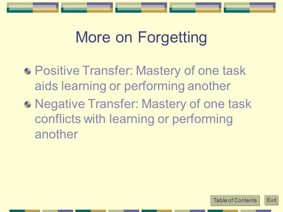 More on Forgetting Positive Transfer: Mastery of one task aids learning or performing another.