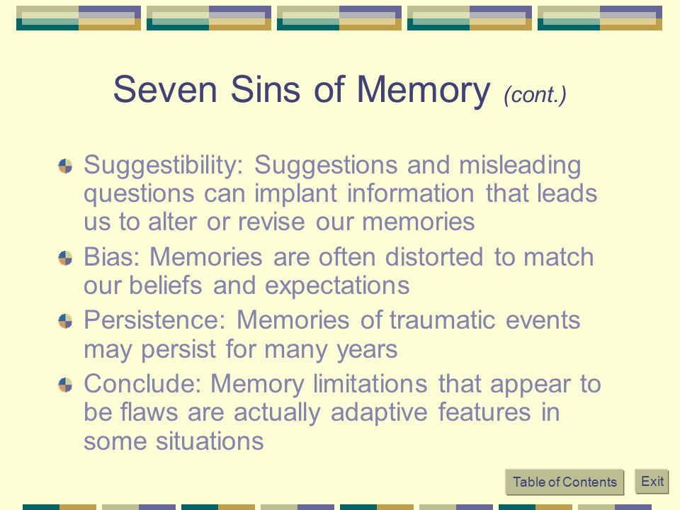 the seven sins of memory When rebecca's father is murdered following a dinner party, she calls upon her  aunt ridley, a criminal investigator, to find the killer ridley's over zealous intern.