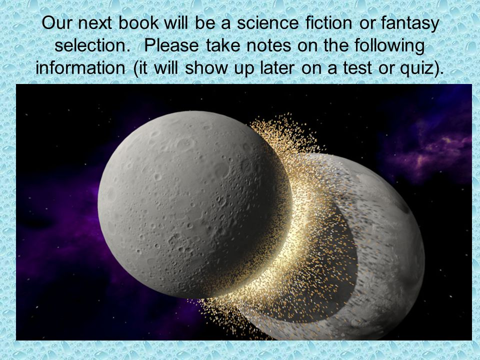 Our next book will be a science fiction or fantasy selection