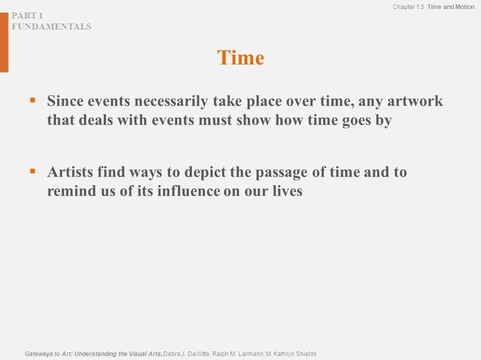 Time Since events necessarily take place over time, any artwork that deals with events must show how time goes by.