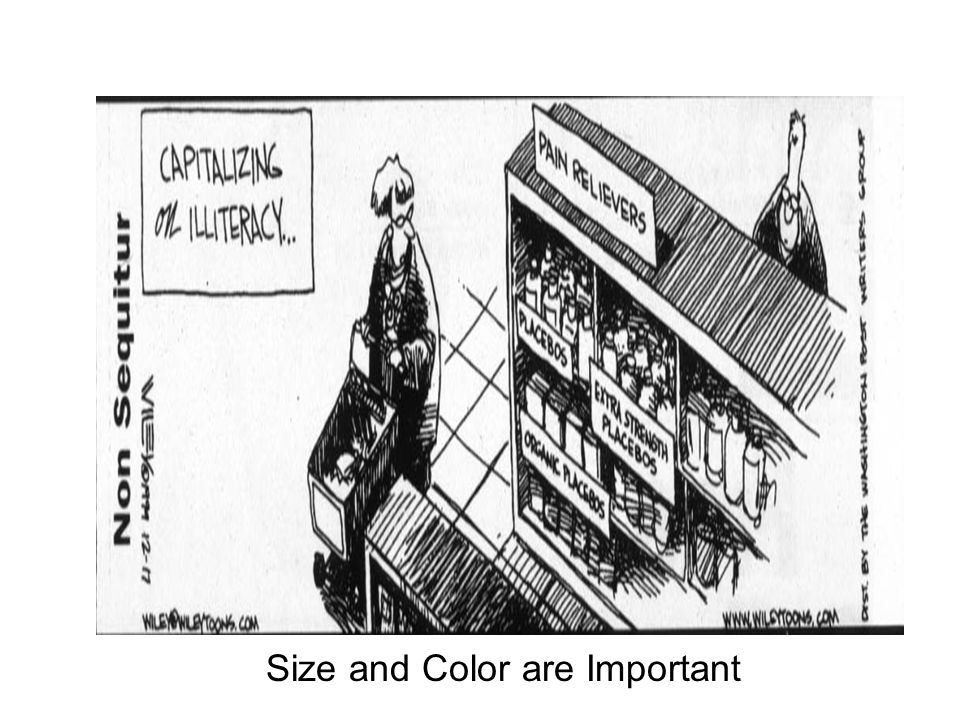 The Placebo Effect Size and Color are Important