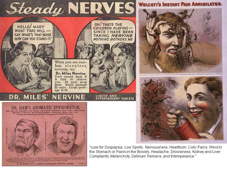 cure for Dyspepsia, Low Spirits, Nervousness, Heartburn, Colic Pains, Wind in the Stomach or Pains in the Bowels, Headache, Drowsiness, Kidney and Liver Complaints, Melancholy, Delirium Tremens, and Intemperance.