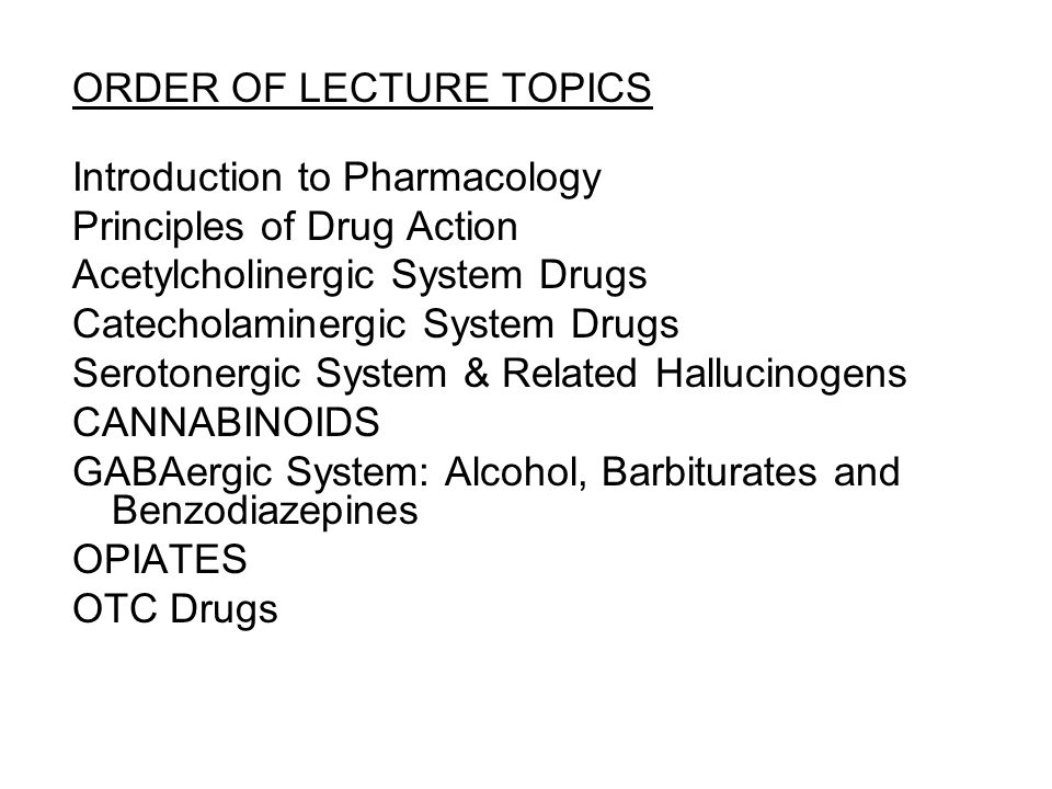 ORDER OF LECTURE TOPICS