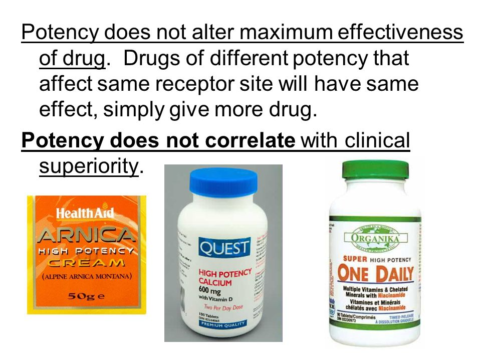 Potency does not alter maximum effectiveness of drug