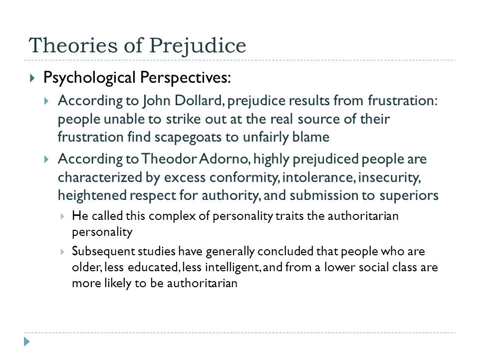 Theories of Prejudice Psychological Perspectives: