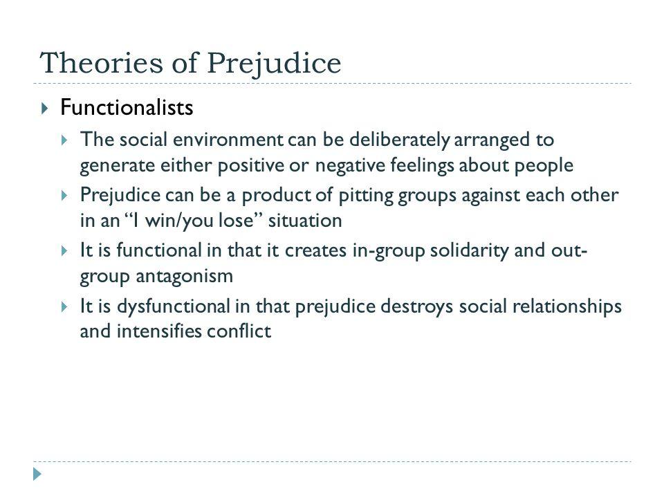 Theories of Prejudice Functionalists