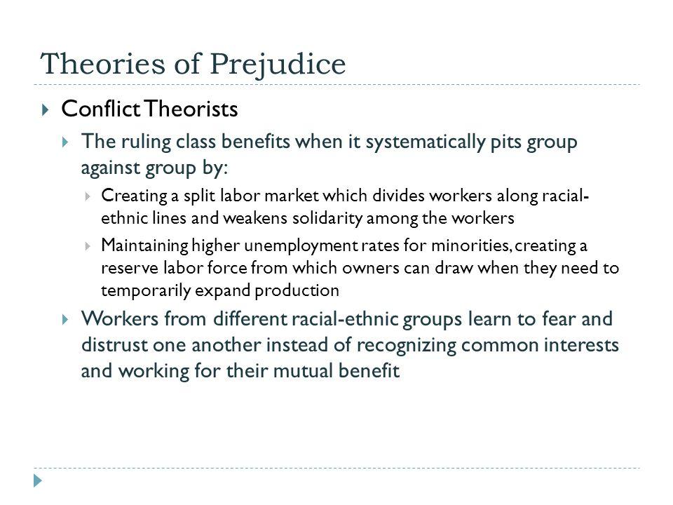 Theories of Prejudice Conflict Theorists