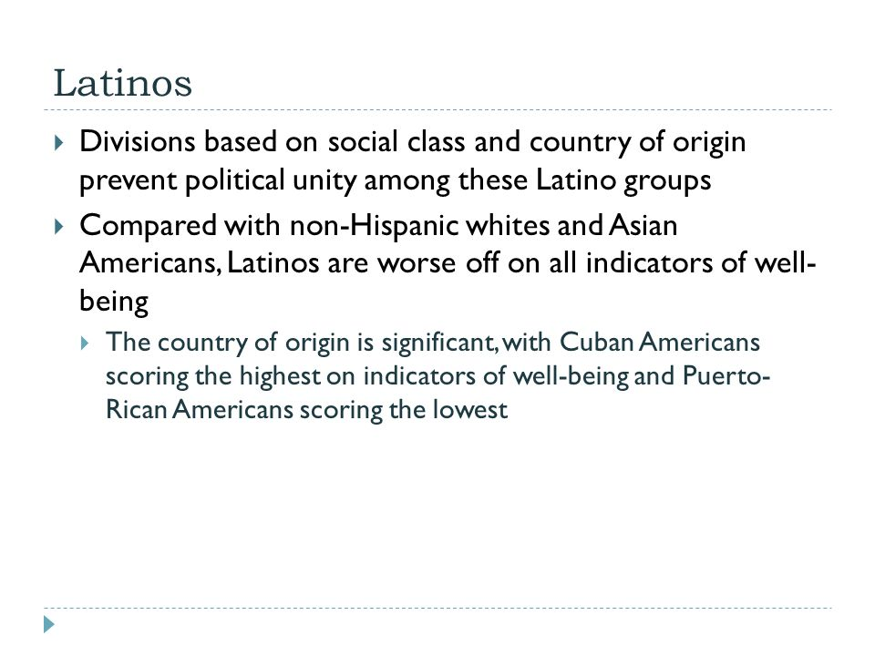 Latinos Divisions based on social class and country of origin prevent political unity among these Latino groups.