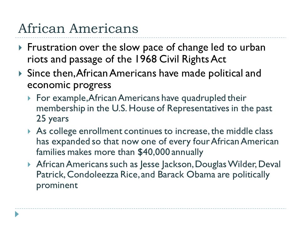 African Americans Frustration over the slow pace of change led to urban riots and passage of the 1968 Civil Rights Act.