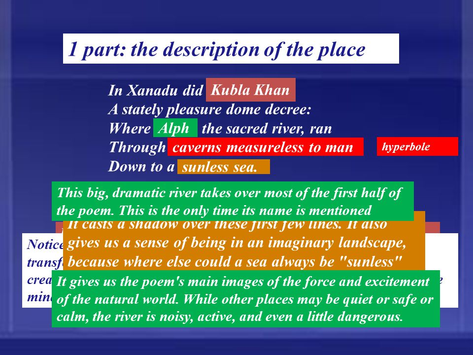 1 part: the description of the place