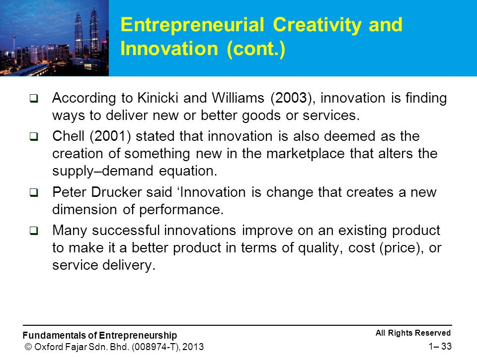 Entrepreneurial Creativity and Innovation (cont.)