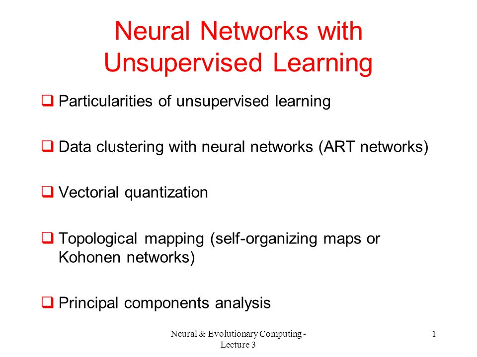 Neural Networks with Unsupervised Learning