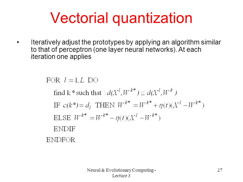 Vectorial quantization