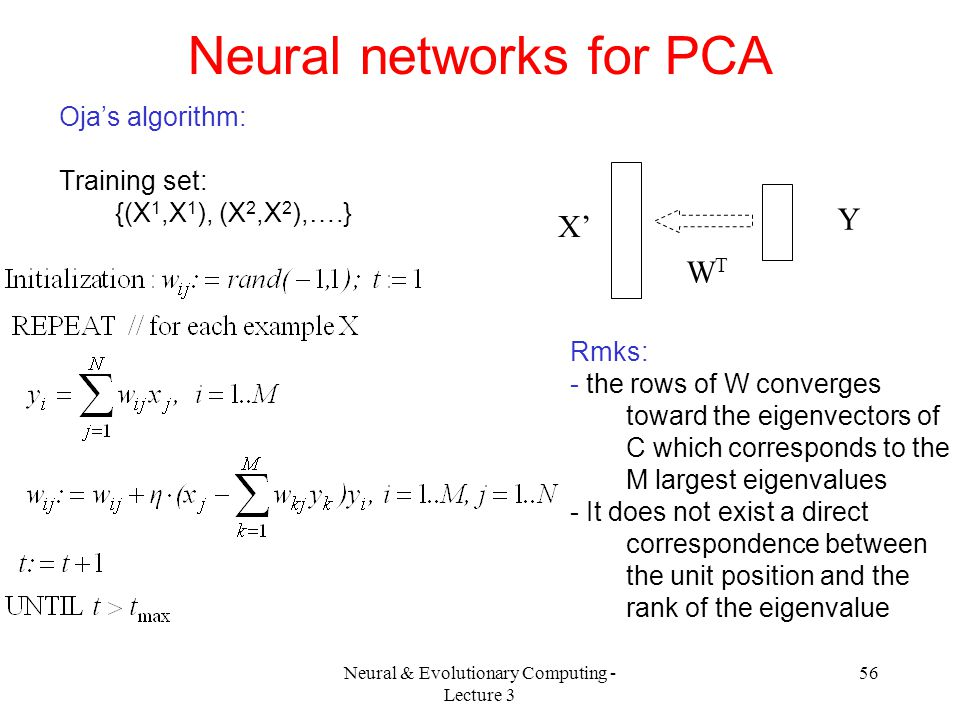 Neural networks for PCA