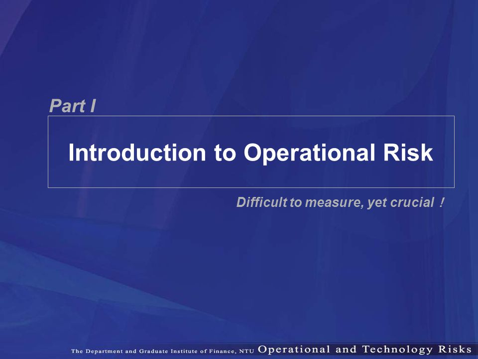 Introduction to Operational Risk
