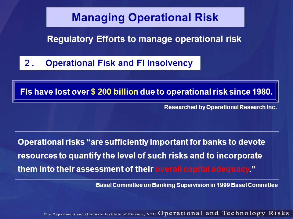 Managing Operational Risk