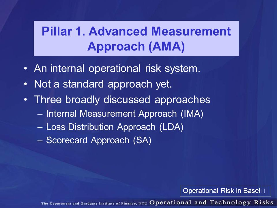Pillar 1. Advanced Measurement Approach (AMA)