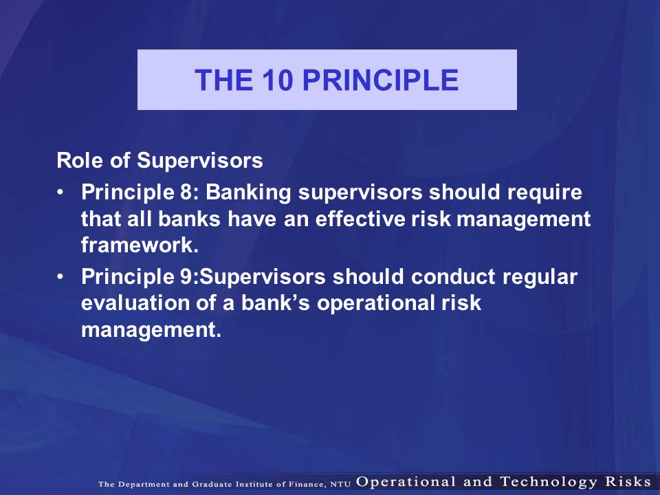 THE 10 PRINCIPLE Role of Supervisors