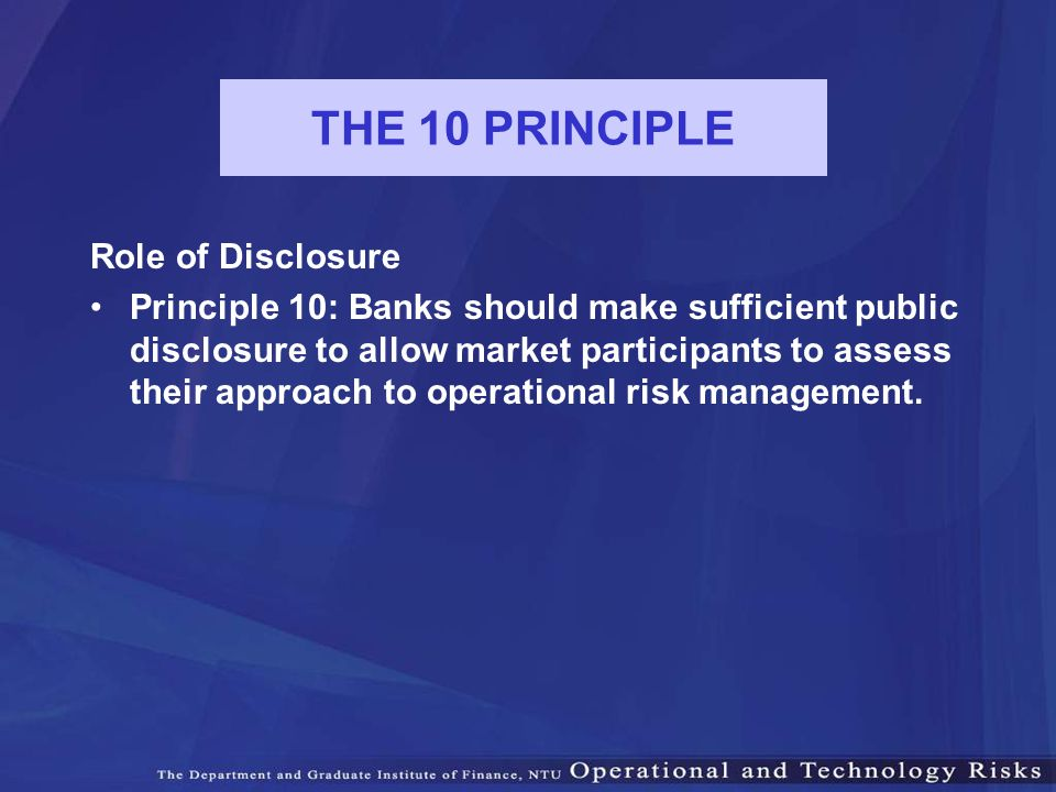 THE 10 PRINCIPLE Role of Disclosure