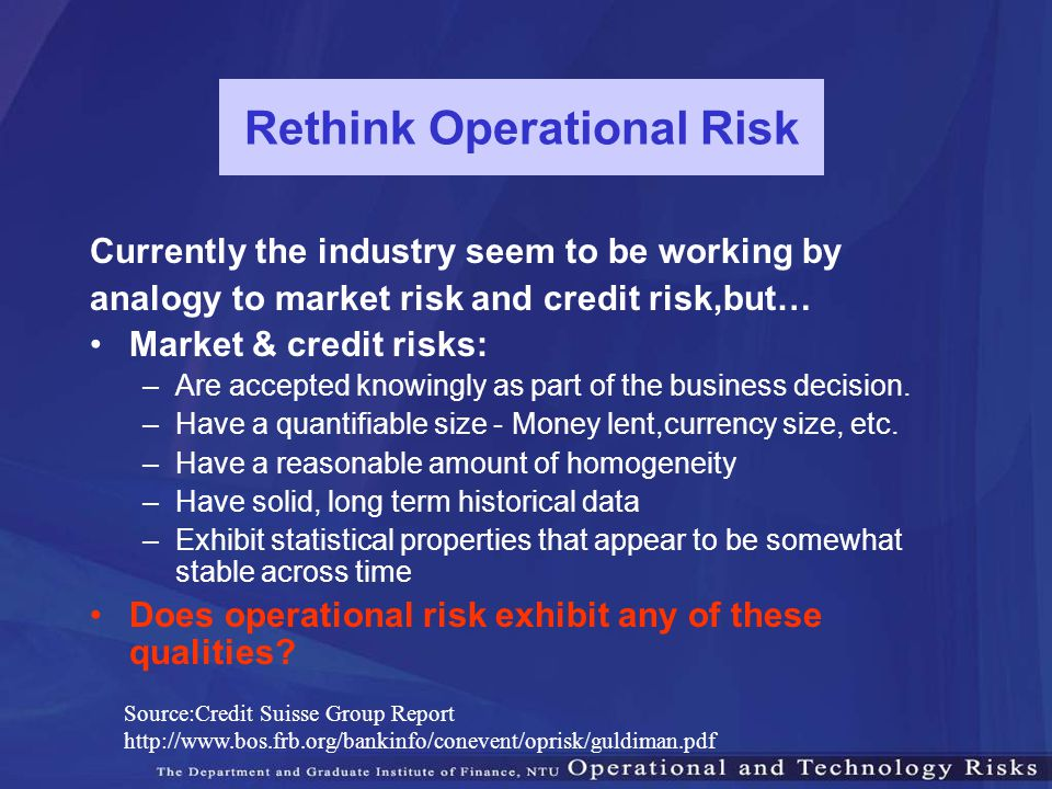 Rethink Operational Risk