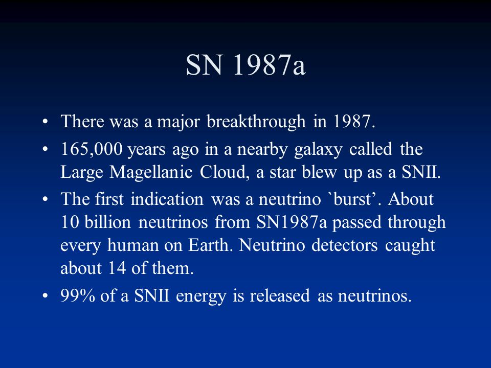 SN 1987a There was a major breakthrough in 1987.