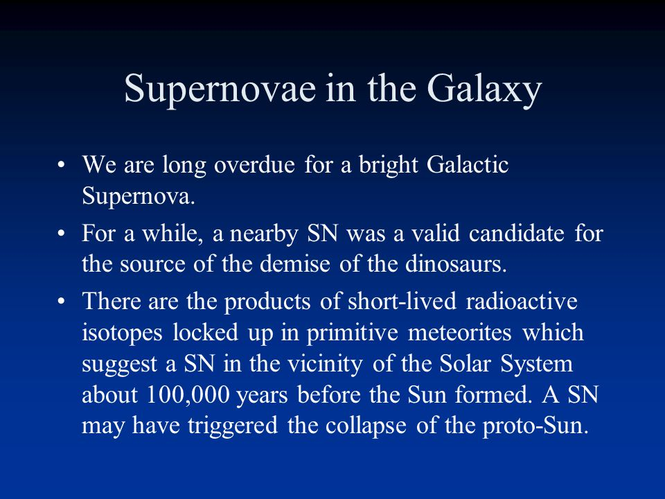 Supernovae in the Galaxy