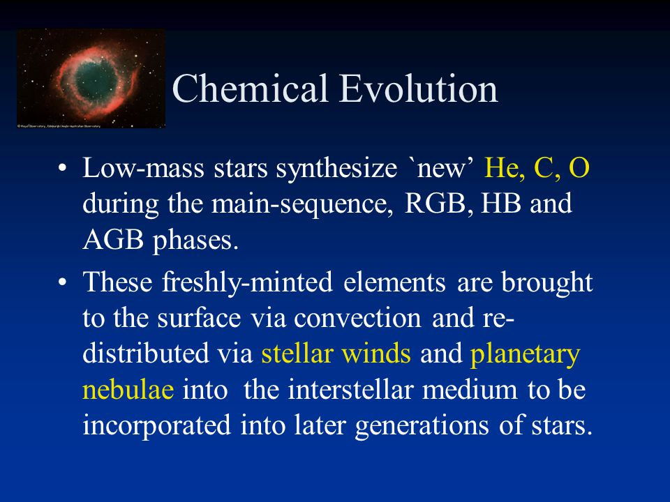 Chemical Evolution Low-mass stars synthesize `new' He, C, O during the main-sequence, RGB, HB and AGB phases.