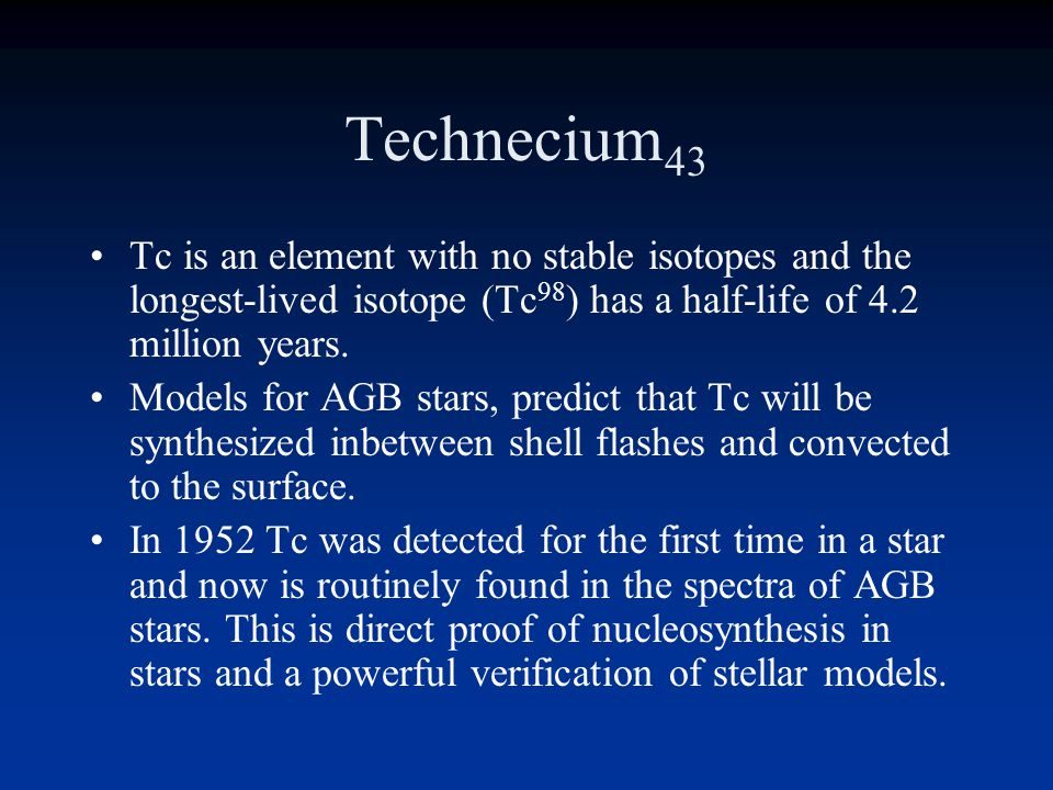 Technecium43 Tc is an element with no stable isotopes and the longest-lived isotope (Tc98) has a half-life of 4.2 million years.