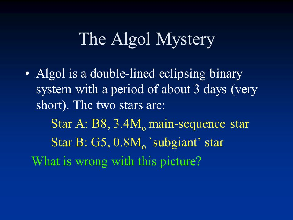 The Algol Mystery Algol is a double-lined eclipsing binary system with a period of about 3 days (very short). The two stars are: