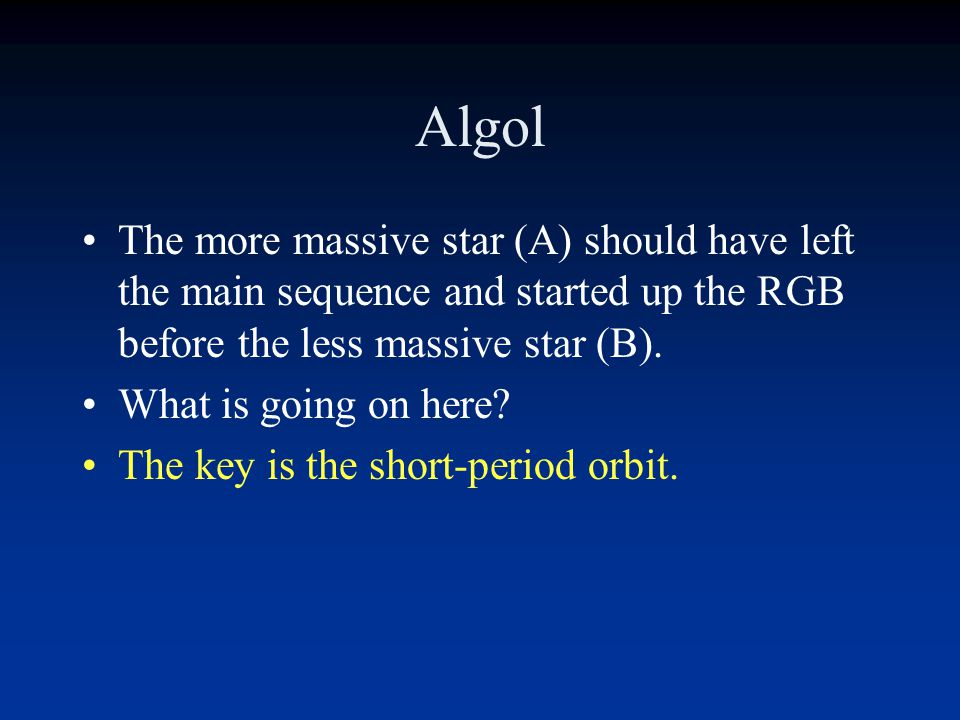Algol The more massive star (A) should have left the main sequence and started up the RGB before the less massive star (B).