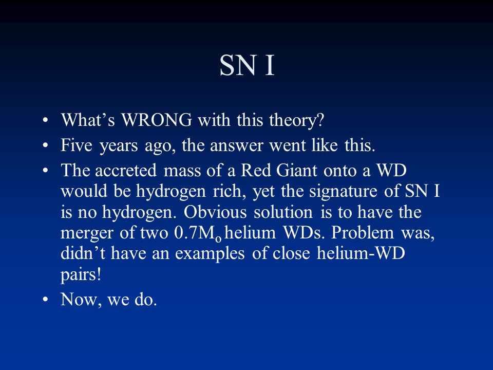 SN I What's WRONG with this theory