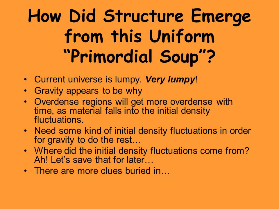 How Did Structure Emerge from this Uniform Primordial Soup