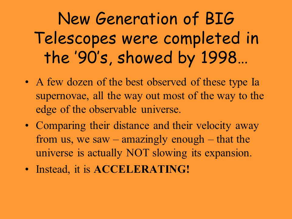 New Generation of BIG Telescopes were completed in the '90's, showed by 1998…