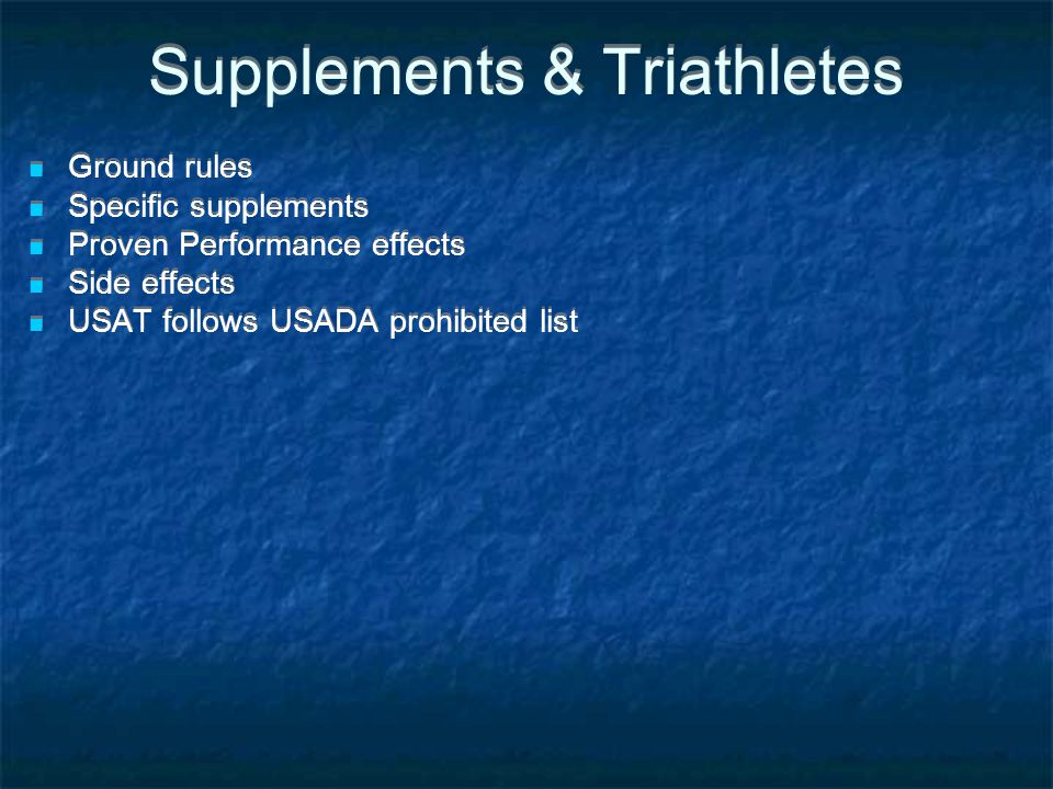 Supplements & Triathletes
