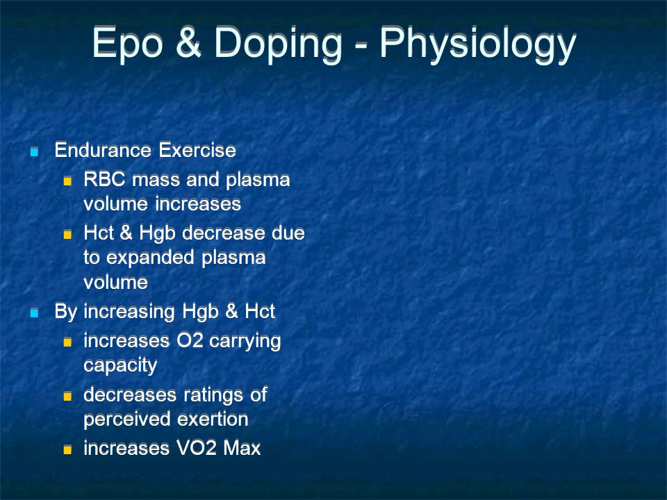 Epo & Doping - Physiology