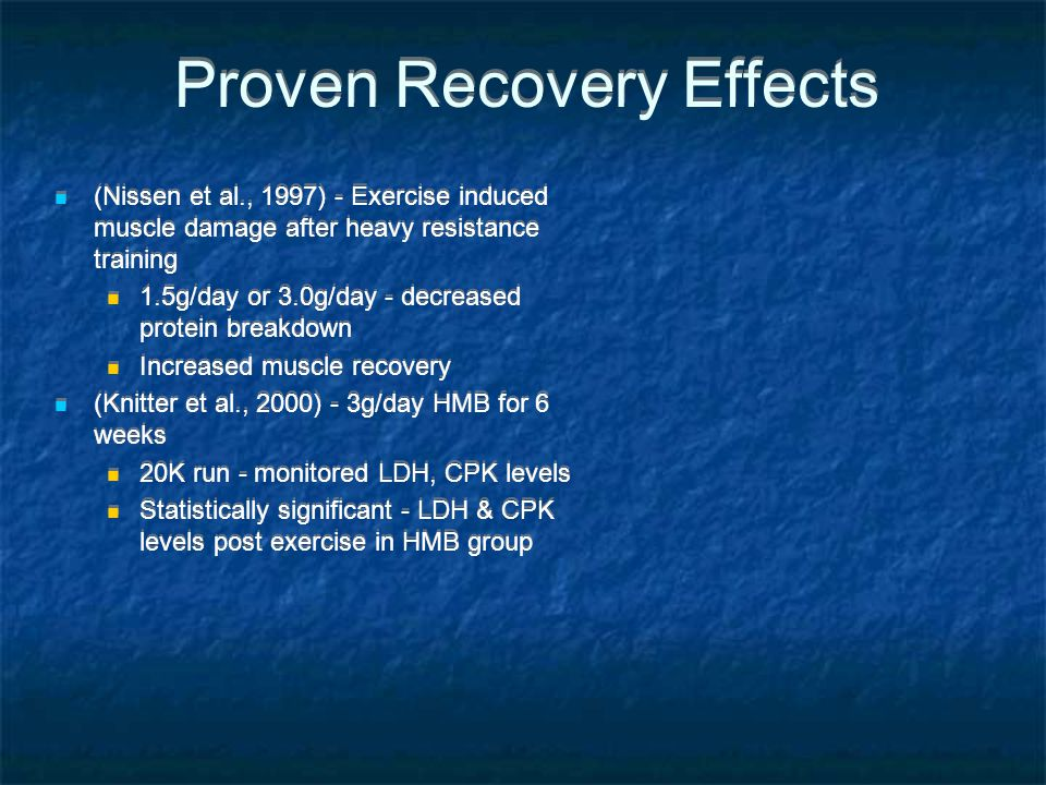 Proven Recovery Effects