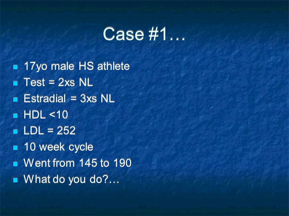 Case #1… 17yo male HS athlete Test = 2xs NL Estradial = 3xs NL