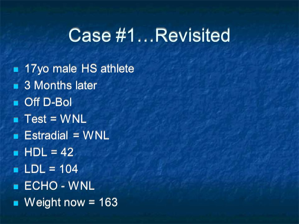 Case #1…Revisited 17yo male HS athlete 3 Months later Off D-Bol