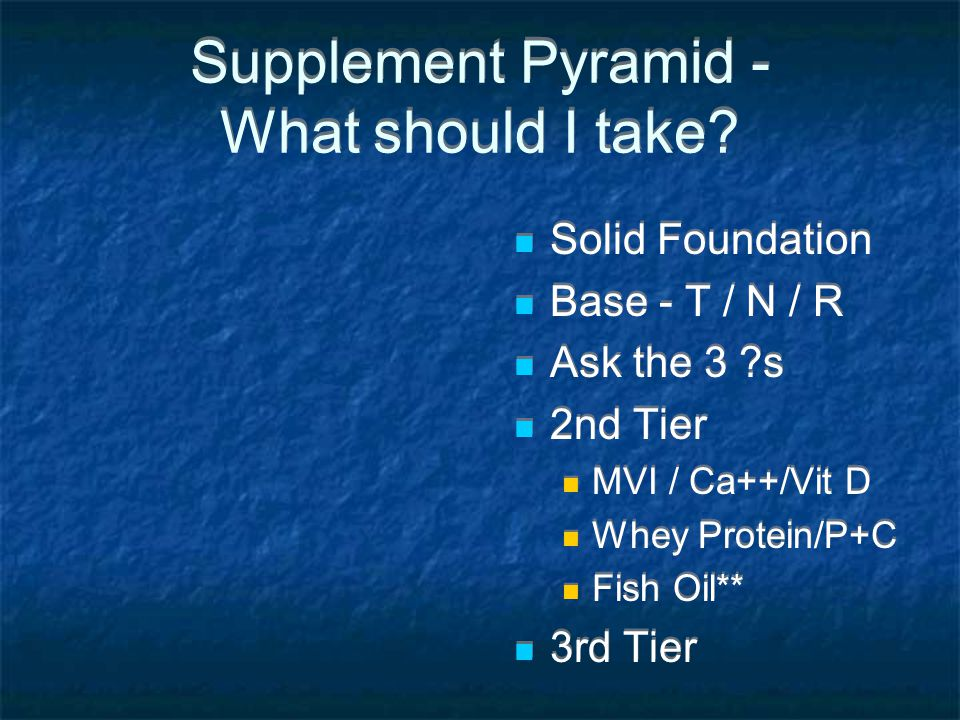 Supplement Pyramid - What should I take