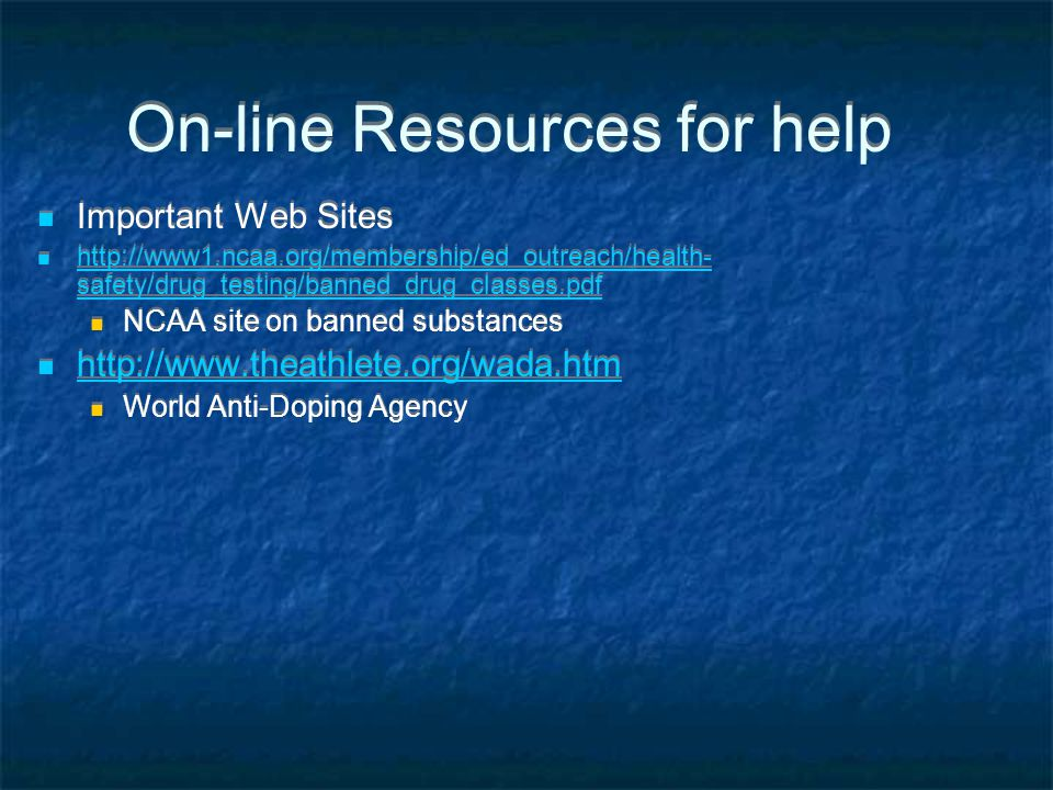 On-line Resources for help