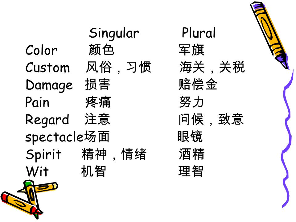 Singular Plural Color 颜色 军旗. Custom 风俗,习惯 海关,关税. Damage 损害 赔偿金.